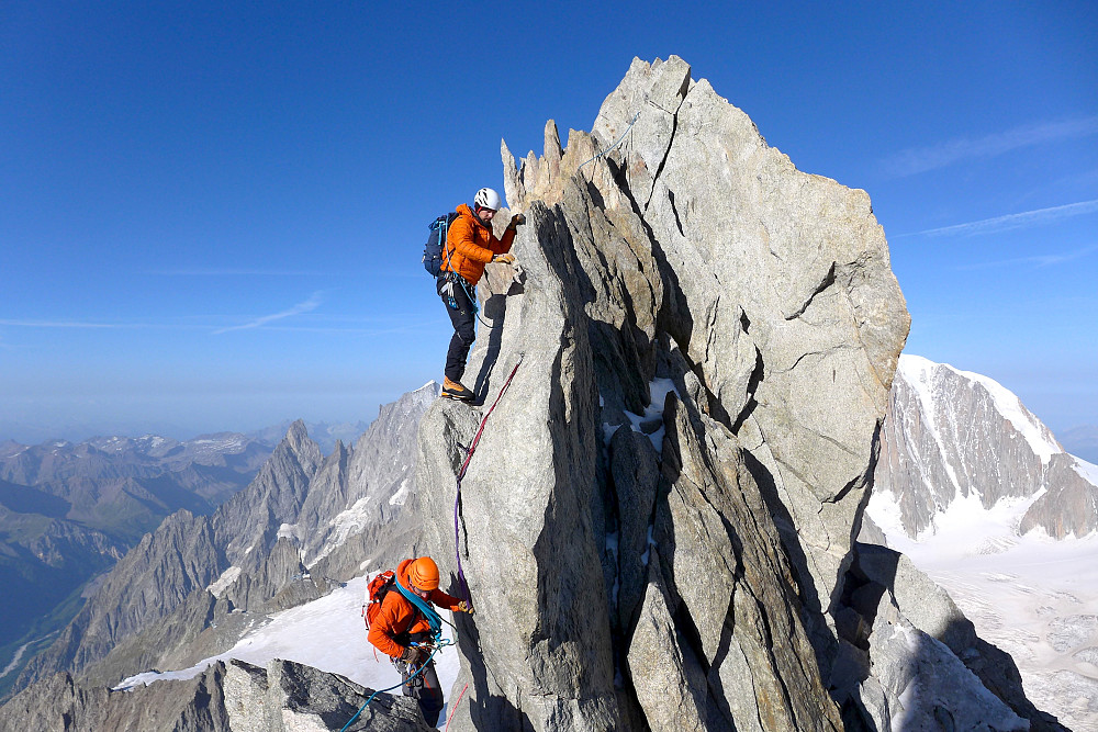 A pair of climbers descending from Pointe Sella