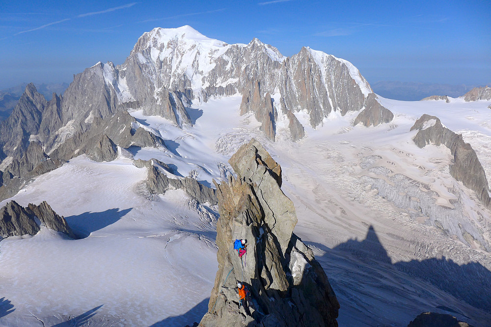 The view to Pointe Sella from Pointe Graham with the backdrop of the Mont Blanc massif