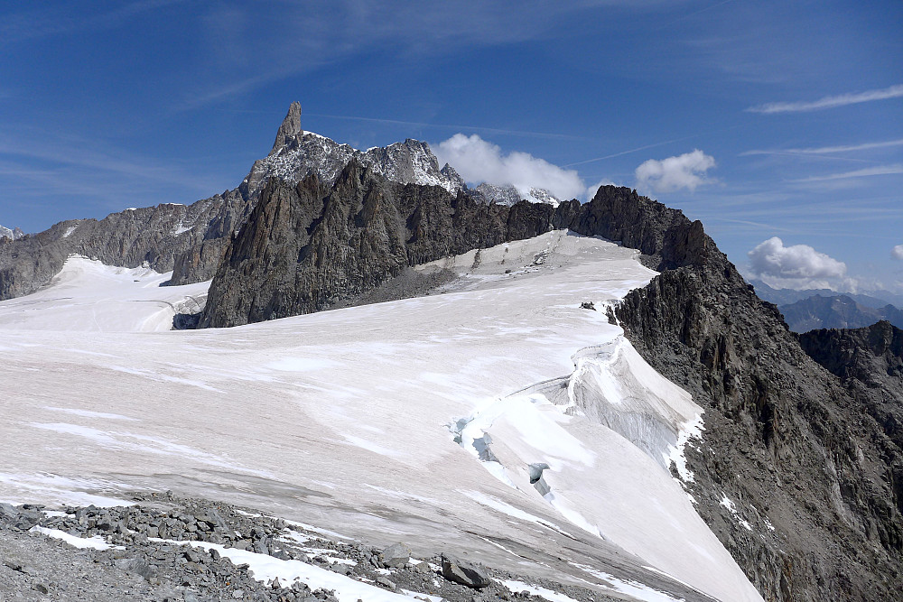 View of the Dent du Geant from the Torino hut
