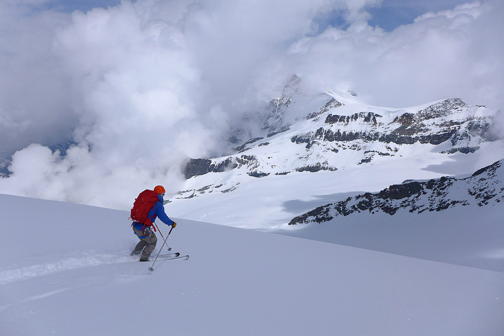 Rob nyter fin puddersnø på vei ned fra Rimpfischsattel