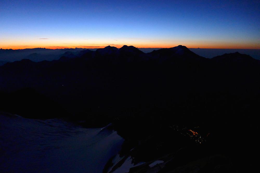 First lights of dawn