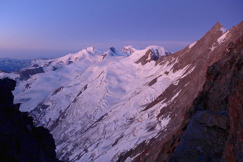 Dawn over the Strahlhorn, Rimpfischhorn, Dufourspitze and Alphubel