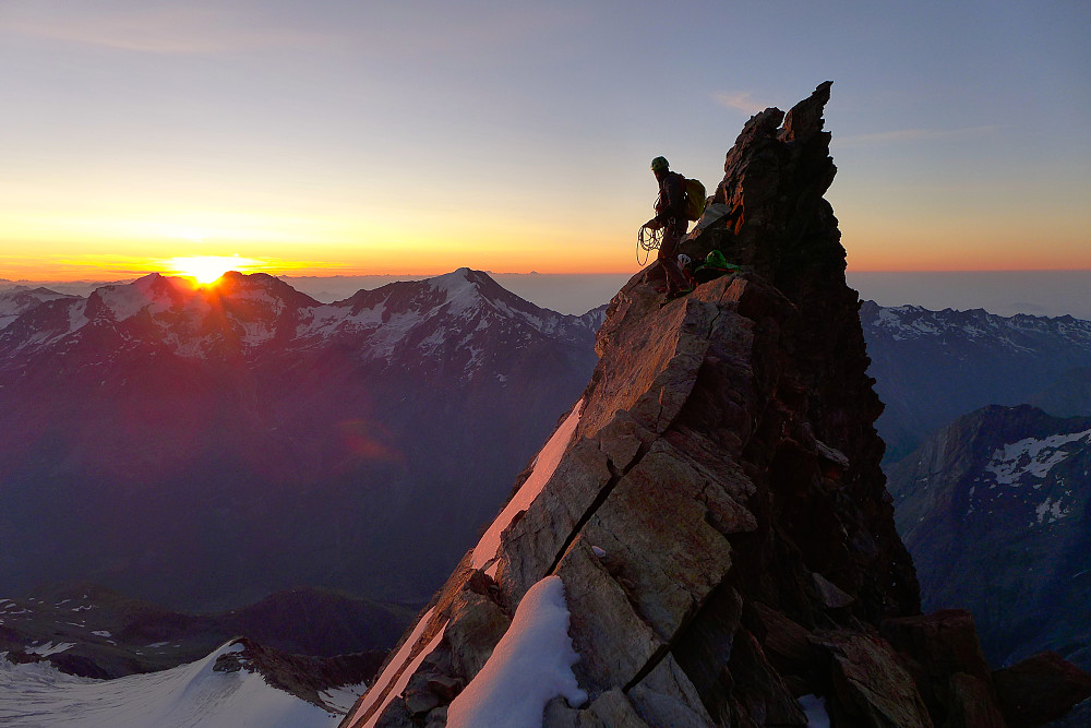 Swiss guide at sunrise