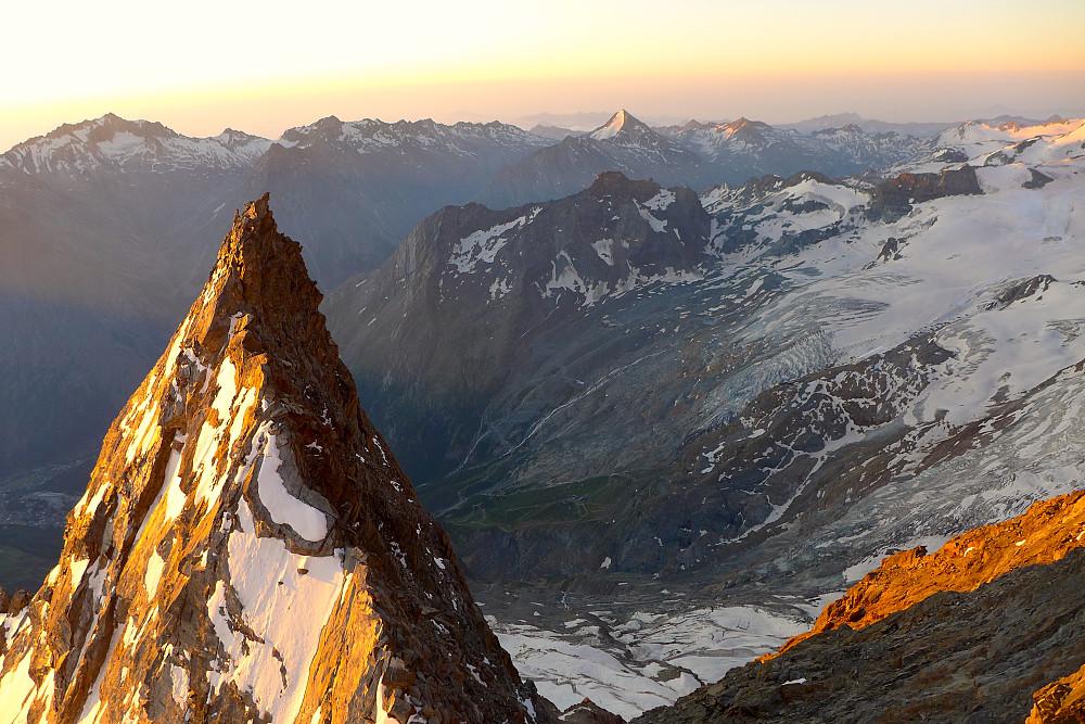 Stunning golden light on the ridge. We walked across that!