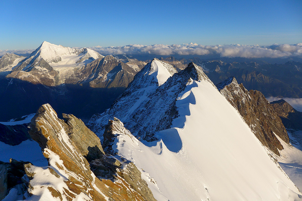 View of the Nadelgrat with the snowy Weisshorn in the background on the left