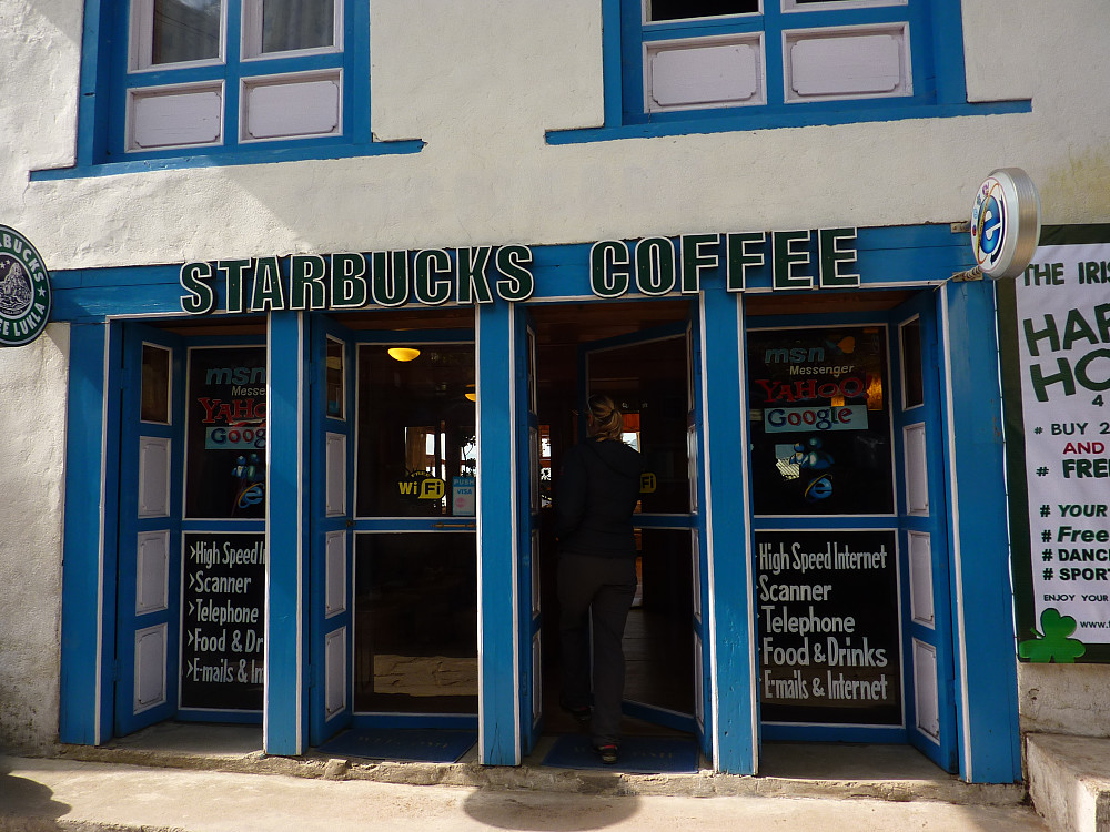 Modernised Lukla now sports its own Starbucks outlet :-)