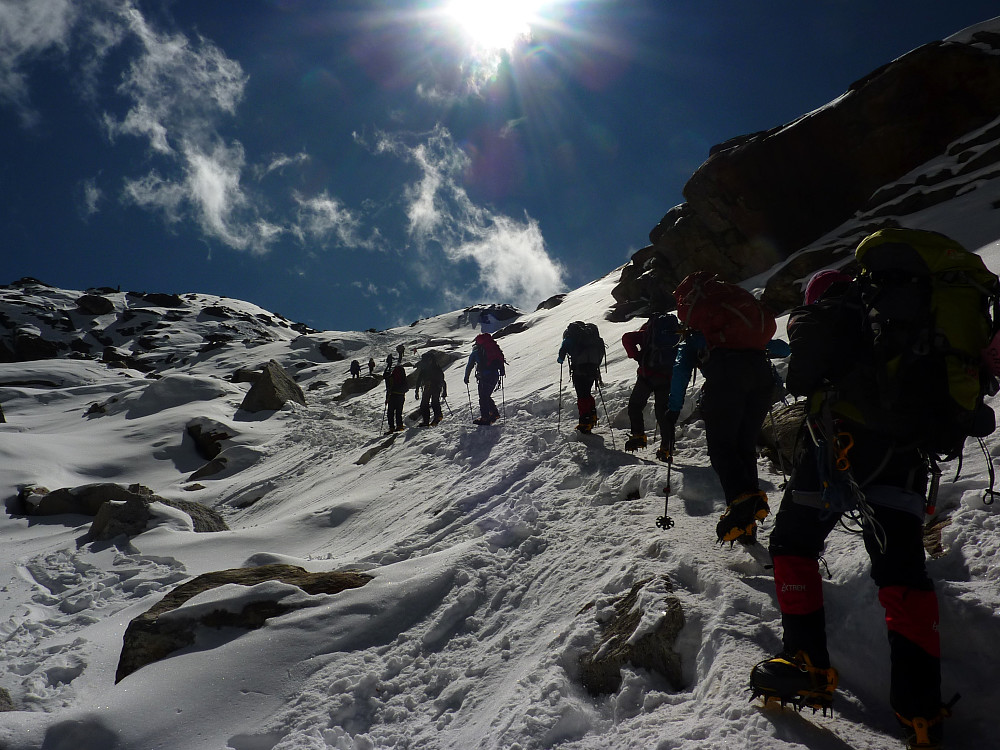 Shortly after starting the ascent on the glacier to Mera Peak base camp