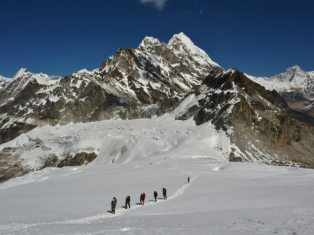 On the way to high camp from the Mera La