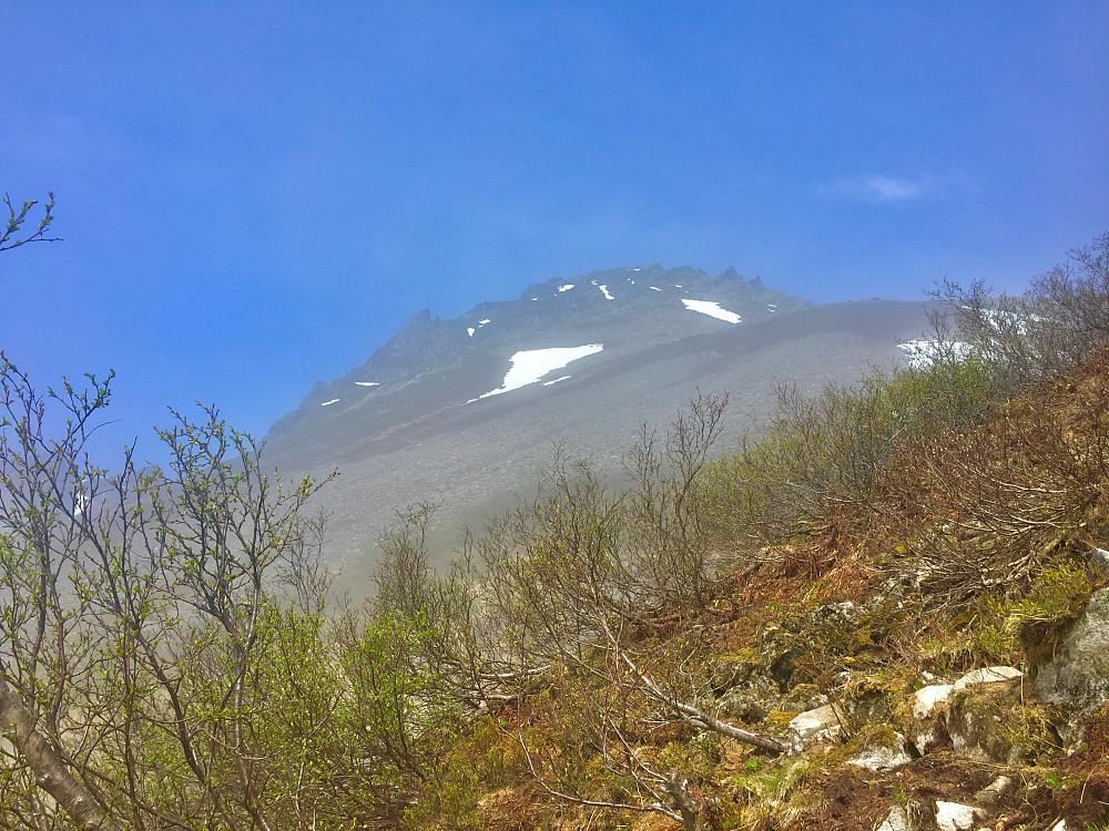 Endelig over skodda som lå til ca 700 moh