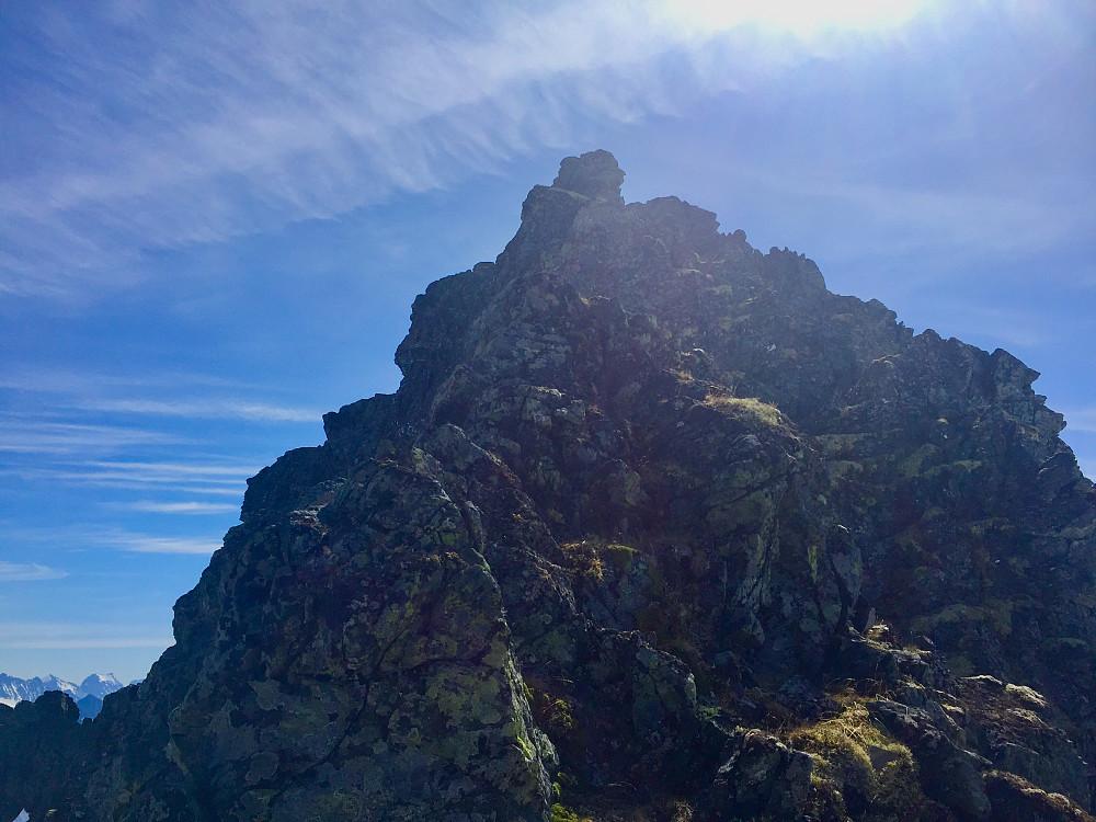 Den siste delen av klyvingen opp nordegga mot toppen
