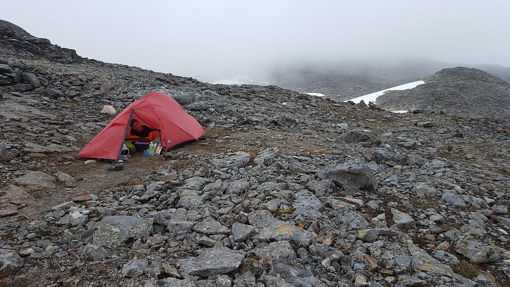 ''Fin flat flekk for telt i steinura under Surtningssue.''