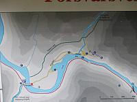 Info om veivalg på andre siden av hengebrua