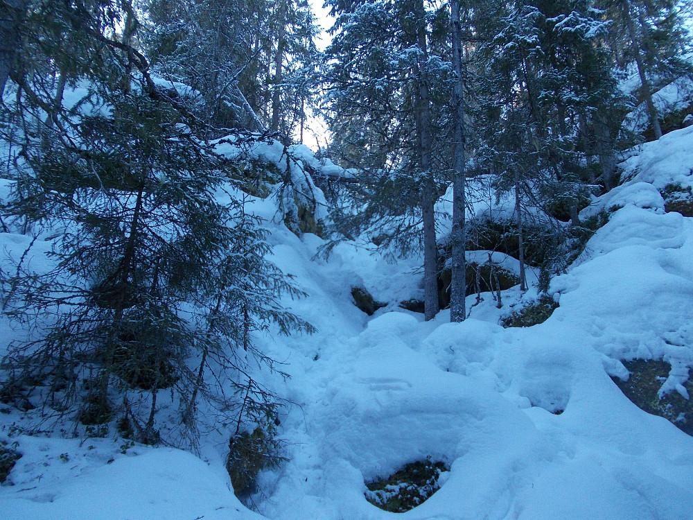 Litt ulendt de siste 20 metrene ned fra Bjørnåsen