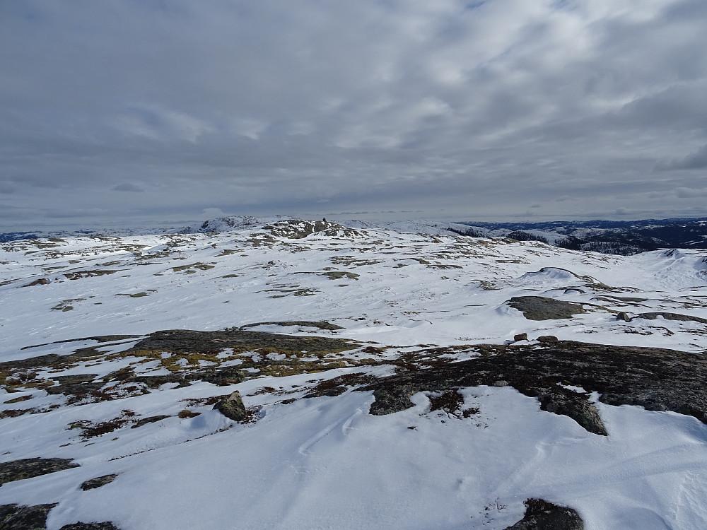 Pb-toppen Groftdalsheia foran, med en varde på en jevnhøy høyde 200 meter SØ for Groftdalsheia