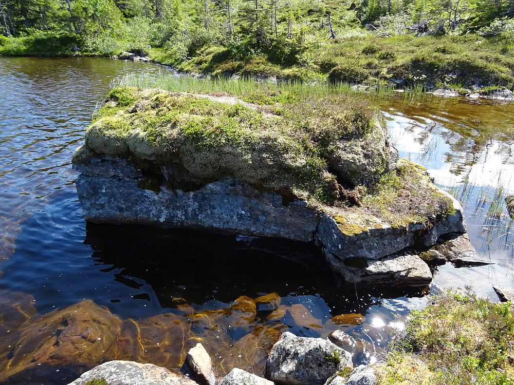 En liten miniholme med naturlige trappetrinn i Øver-Kallhammarvatnet