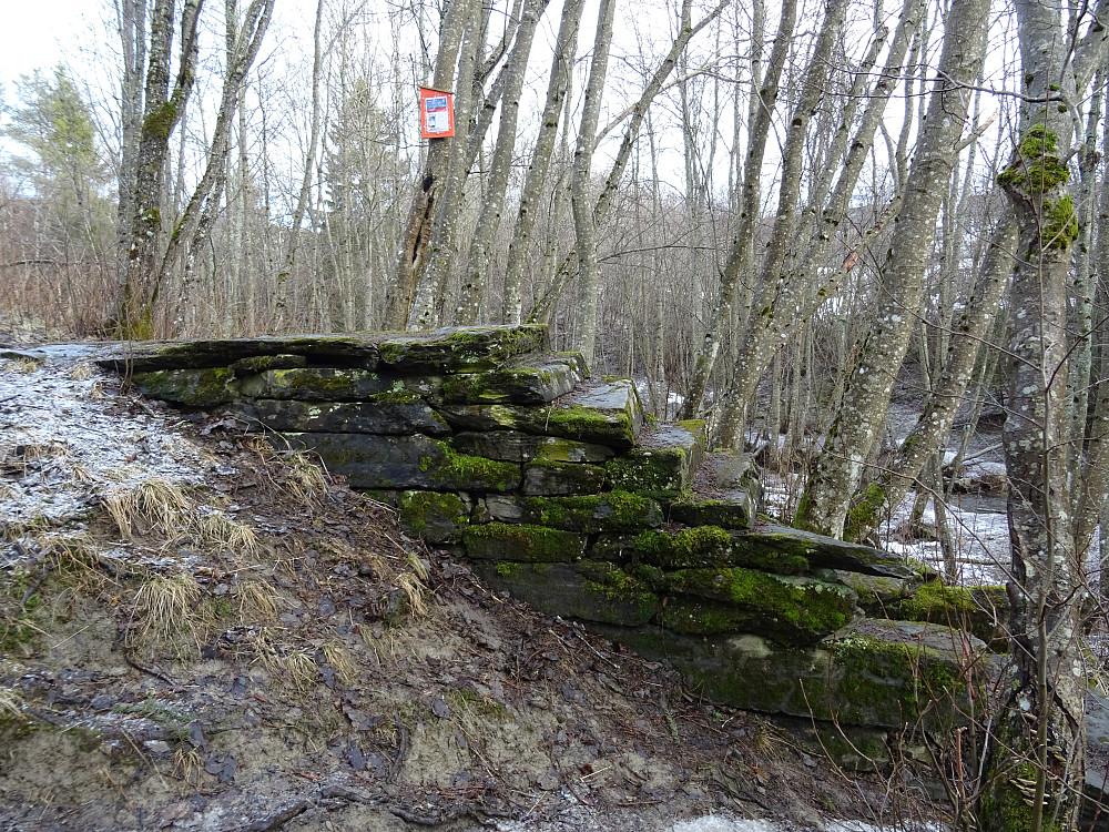 Den mosegrodde steintrappa opp til kjentmannsposten i Dølinsgryta. Posten er på treet i bakgrunnen.