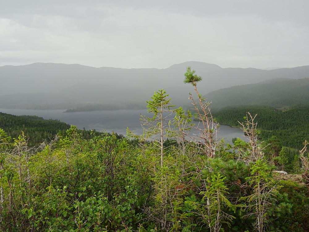 Kraftig regn fra Furudalsvatnet de siste to kilometerne av turen. (Sol i 24 av 26 kilometer)