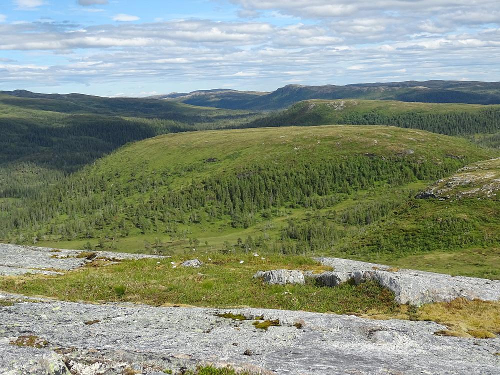Det lange smale fjellet i midten er Sandvasshøgda og Tverrlipynten