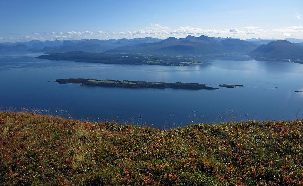 Mot Tomrefjorden og Vestnes. Tautra midt i fjorden.